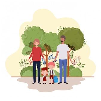 Paar ouders met kinderen in landschap