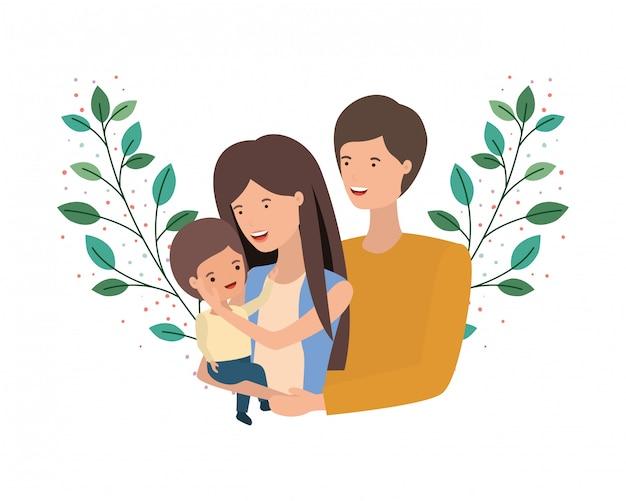 Paar ouders met zoon avatar karakter