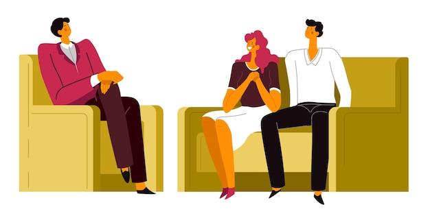 Paar over behandeling van psycholoog, man en vrouw tijdens sessie van psychiater. counseling en geestelijke gezondheid, het oplossen van problemen en relatieproblemen. ondersteuning van specialist vector in flat