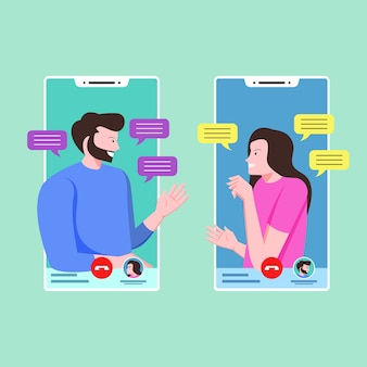 Paar praten en chatten op videobellen