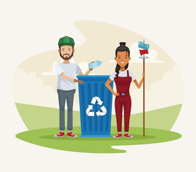 Paar recycling in het kamp