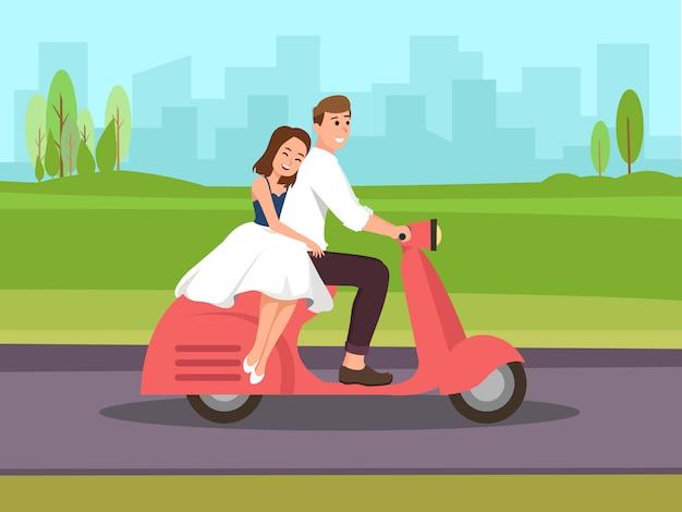 Paar reizen per scooter