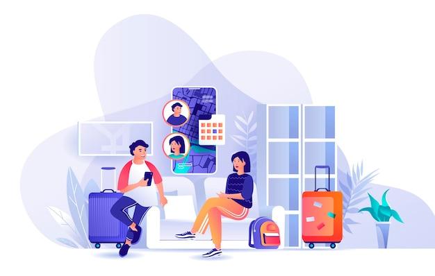 Paar reizen vakantie samen scène illustratie van mensen karakters platte ontwerpconcept