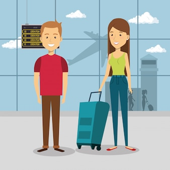Paar reizigers in de luchthavenpersonages