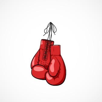 Paar rode hand getrokken boksershandschoenen aan een koord. boksershandschoenen symbool van krijgskunst en sport. boksen competities concept. illustratie op witte achtergrond