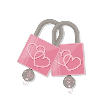 Paar roze hartslot met sleutel