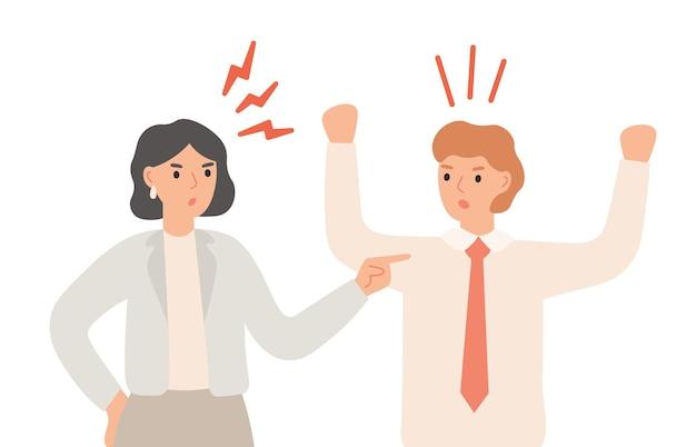 Paar ruzie, boze man en vrouw met ruzie of onenigheid in relatie. familieconflict, mannelijke en vrouwelijke personages die woedend schreeuwen. mensen met agressie vectorillustratie
