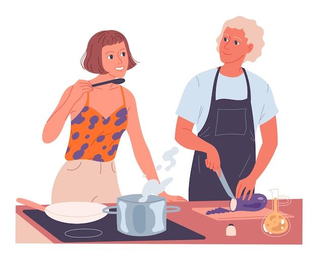 Paar samen koken. vrouw kookt op het fornuis, man hakt groenten