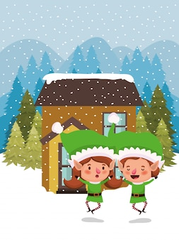 Paar santahelpers in snowscape