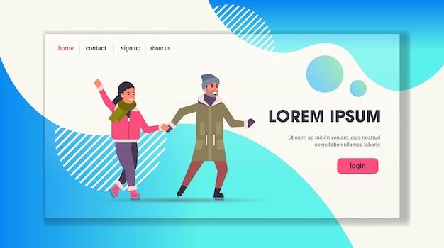 Paar schaatsen op ijsbaan wintersport activiteit recreatie op vakantie concept man en vrouw tijd samen doorbrengen volledige lengte horizontale kopie ruimte vectorillustratie