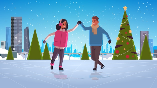 Paar schaatsen op ijsbaan wintersport activiteit recreatie op vakantie concept man vrouw hand in hand tijd samen doorbrengen sneeuwval stadsgezicht volledige lengte horizontale vector illustratie