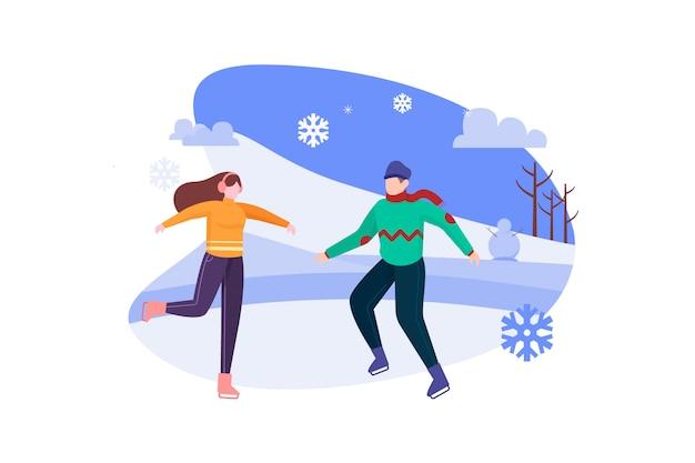 Paar schaatsen op winternacht