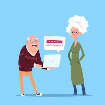 Paar senior mensen met behulp van laptop computer moderne grootvader en grootmoeder volledige lengte