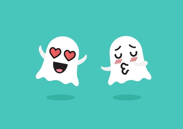 Paar spoken emoji karakter. grappige cartoon-emoticons