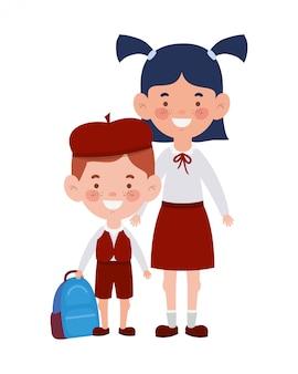 Paar studenten staan glimlachen