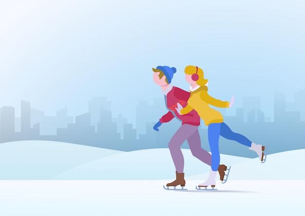 Paar tienerjaren jongen en meisje schaatsen op ijs vectorillustratie.