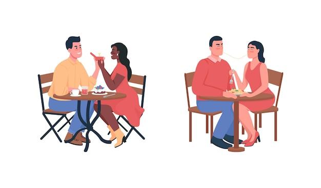Paar tijdens romantisch diner vlakke kleur gedetailleerde tekenset.