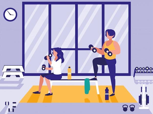 Paar tillen gewichten in de sportschool