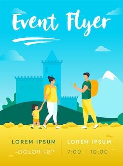 Paar toerist met kind bij landmark flyer-sjabloon