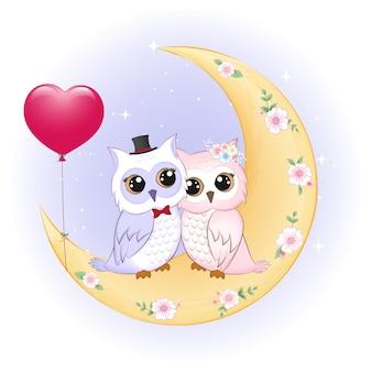 Paar uil en hartballonnen op de maan