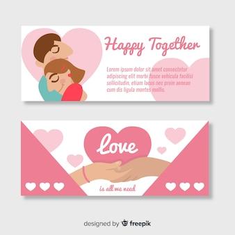 Paar valentijnsdag banner sjabloon