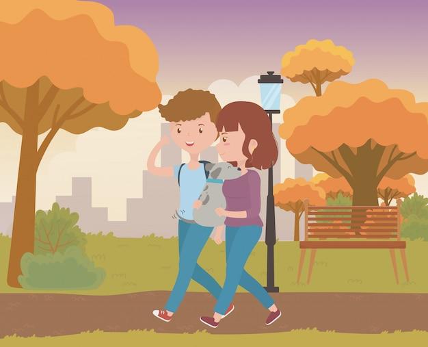 Paar van jongen en meisje met hondontwerp