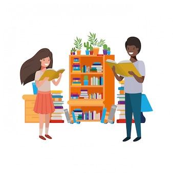 Paar van student met leesboek in de handen