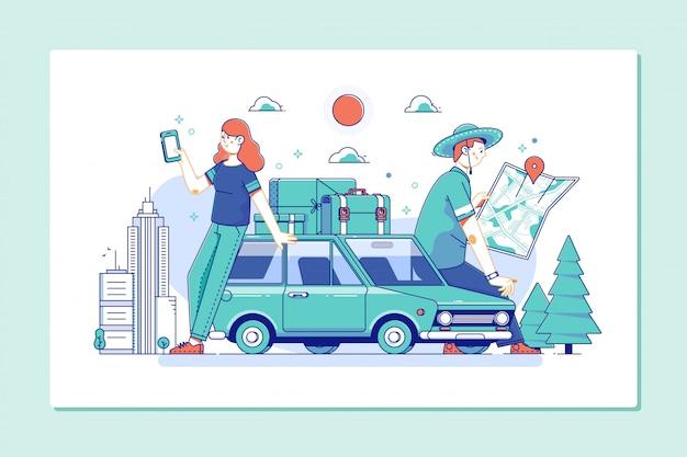 Paar van toeristen die een stadsgids en smartphonegps raadplegen in de straat die plaatsen zoeken