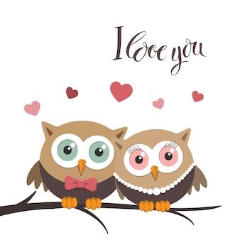Paar van uilen verliefd op een witte achtergrond en een bericht