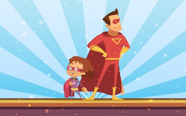 Paar van volwassene en kindbeeldverhaal superhelden in rode mantels die zich trots bij zonlichtachtergrond bevinden