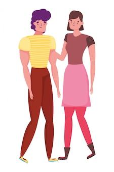 Paar van vrouw en man cartoon design