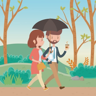 Paar van vrouw en man cartoon