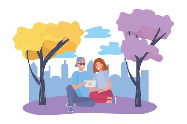 Paar van vrouw en man in het park