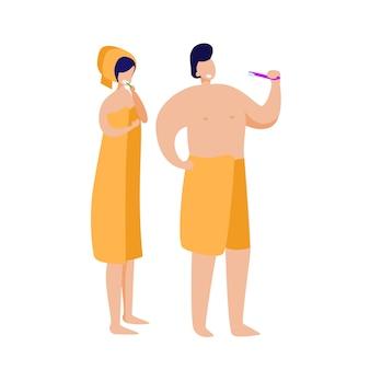 Paar vergadering in de badkamer
