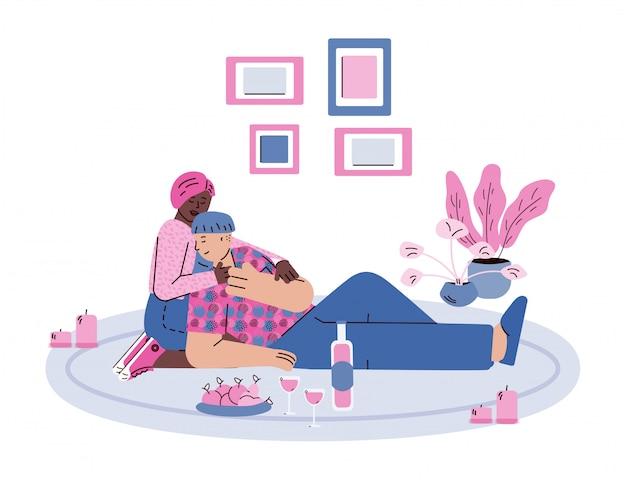 Paar verliefd met romantische datum, schets cartoon illustratie
