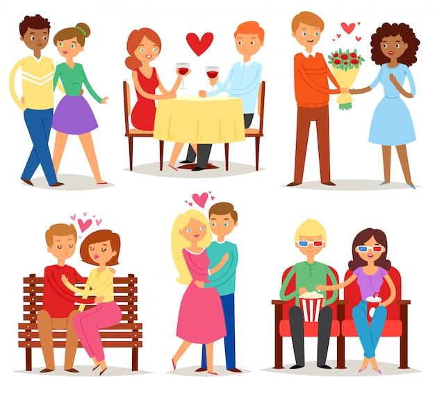 Paar verliefd minnaars karakters in mooie relaties op liefdevolle date samen op valentijnsdag en vriendje zoenen geliefde vriendin illustratie
