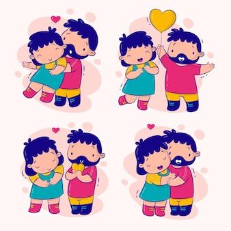 Paar verliefd set stickers collectie
