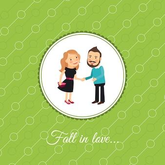 Paar verliefdheid valintines dag kaart