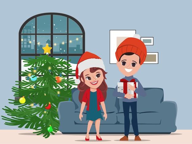 Paar verrassing kerstcadeaus in vakantie