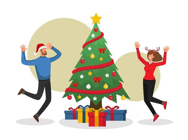 Paar vieren kersttijd