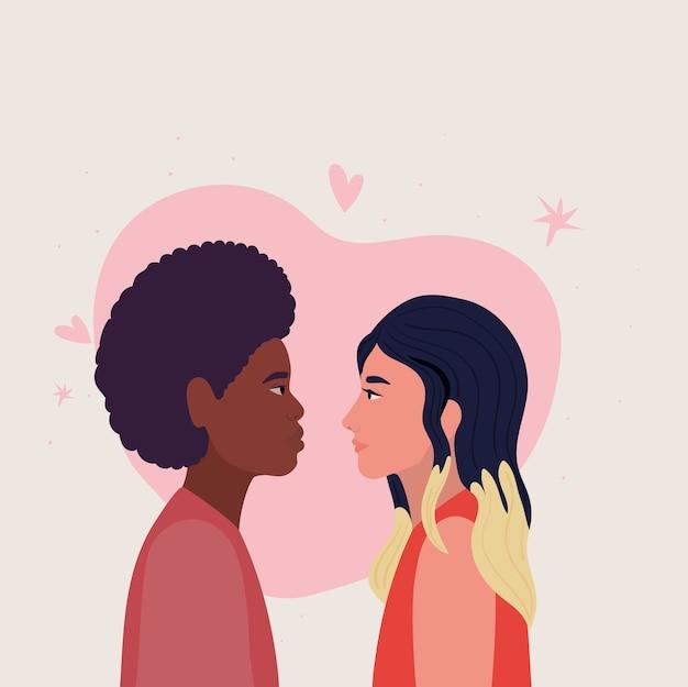 Paar vrouw en man in zijaanzicht voor hartontwerp, relatie liefde en romantiek thema