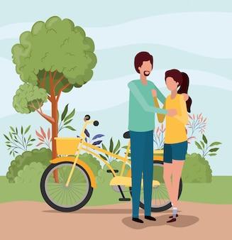 Paar vrouw en man met fiets, relatie liefde romantiek vakantie en samen