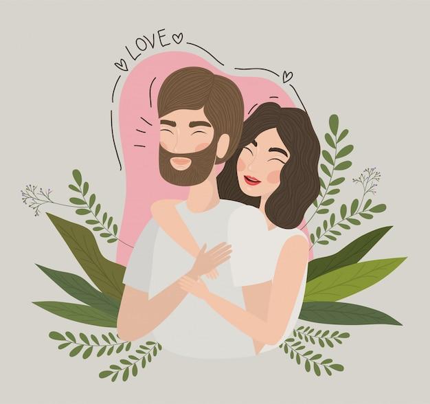Paar vrouw en man tekening, relatie valentijnsdag romantiek vakantie en samen illustratie