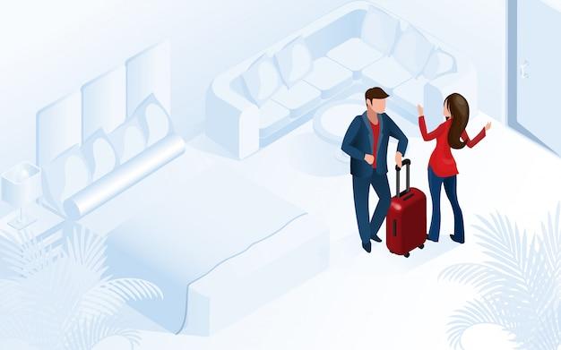 Paar vrouw man aankomen met bagage in de kamer