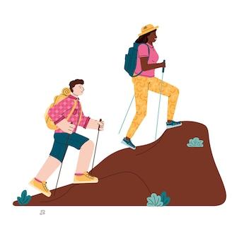Paar wandelaars man en vrouw beklimmen de heuvel, tekenfilm