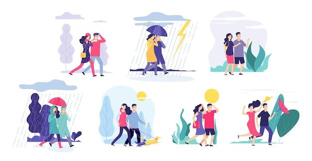 Paar wandelen weer. meisje jongen lopen, seizoensgebonden regen onweer bewolkte zon. mensen buitenshuis lente winter zomer vector concept. wandelweer, tekenfilmmensen koppelen met parapluillustratie