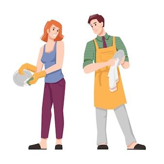 Paar wassen en drogen gerechten platte cartoon mensen vector man in schort en vrouw huishoudelijke klusjes doen