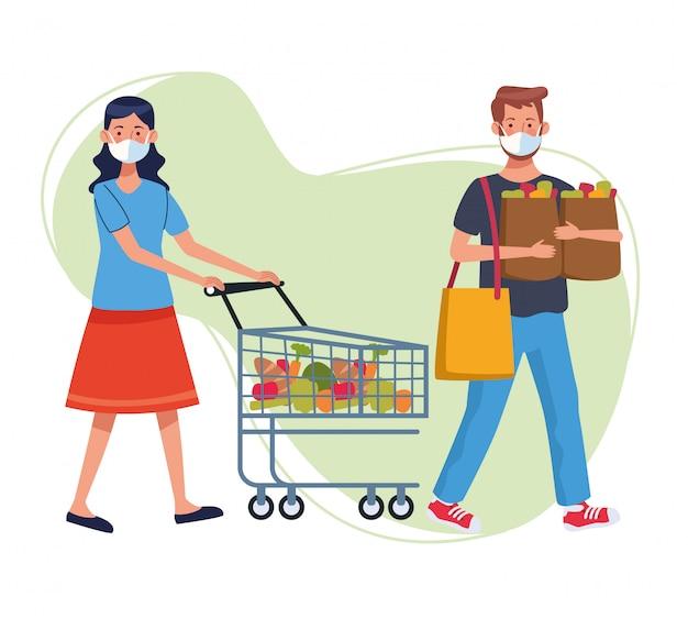 Paar winkelen in de supermarkt met gezichtsmasker
