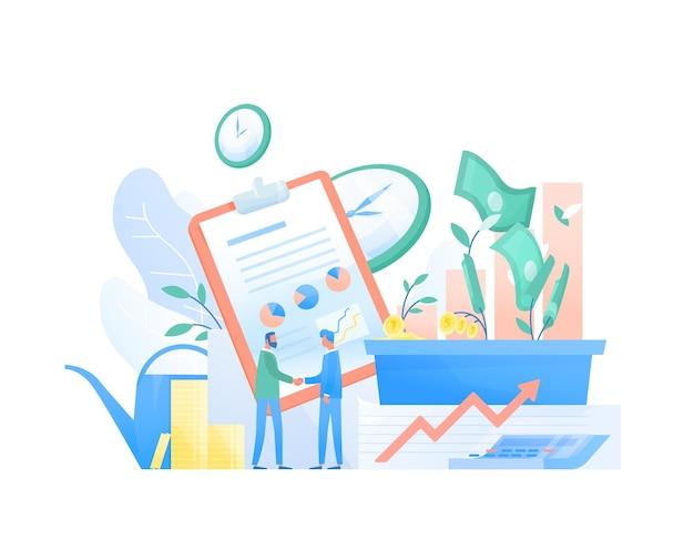 Paar zakenlieden, ondernemers of investeerders die handen schudden, beursgrafieken en geld. investeringsovereenkomst of deal, financiering. kleurrijke vectorillustratie in moderne vlakke stijl.