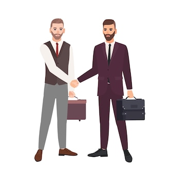 Paar zakenlieden, zakenpartners, werknemers of beambten die handen schudden